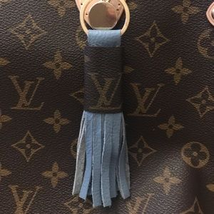 Accessories - Leather tassel keychain made with repurposed bag!